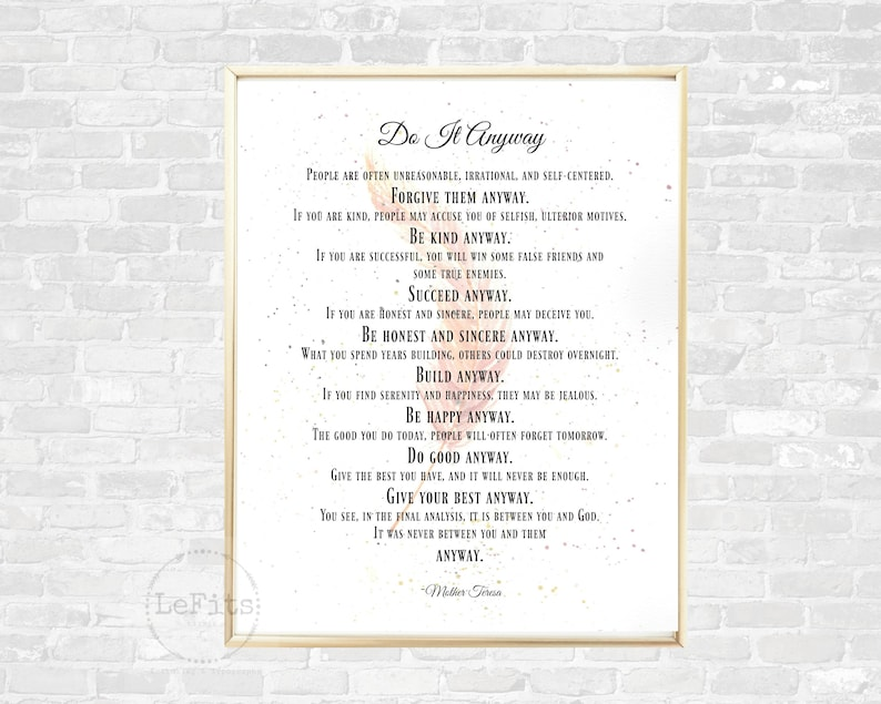 image regarding Mother Teresa Do It Anyway Printable referred to as Do It In any case, Mom Teresa quotation, hand-painted h2o coloration feather, impartial/mauve hues, quick obtain wall artwork, feather artwork printable