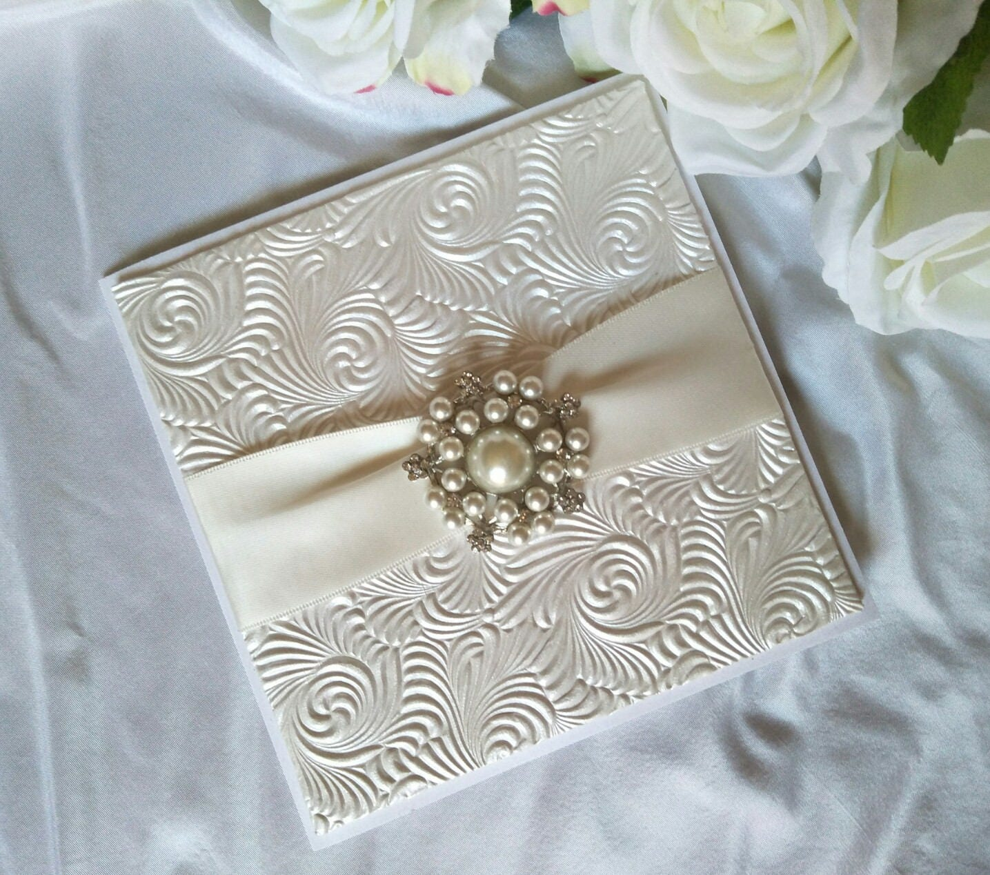 Wedding Invitation - Lucy White with Pearl and Diamante Brooch