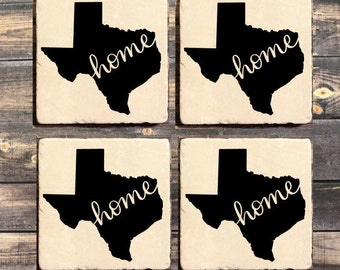 Texas Home Coasters Beer Gift Decor Hostess Housewarming Marble