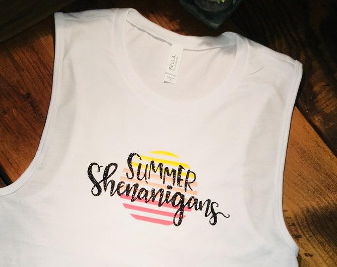 Summer Shenanigans muscle tank top, womens muscle tank, shenanigans shirt, trendy summer top, summer shirt, razorback tank, ladies tank top