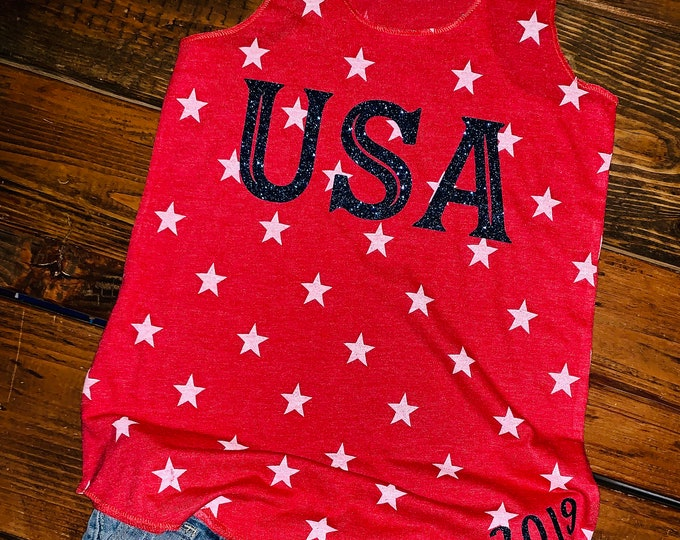 July 4th tank, Stars and Strips, Ladies July 4th tank, USA tank, Independence day, 2021 Firecracker Day, Red White and Blue, Patriotic tank