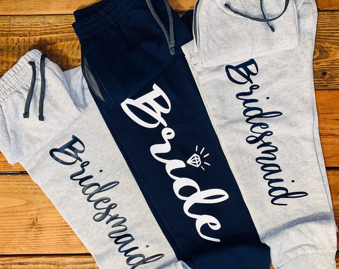 Customized Bridal Joggers/Custom sweatpants/joggers/Personalized Jogger/Bridesmaid proposal gifts/Bachelorette bridal party/Bride Squad Gift