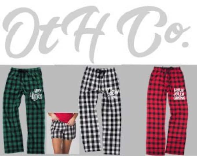 Christmas Flannel Pants, Buffalo Plaid flannel pant, Custom lounge pants, Cozy flannel plaid pants, Christmas gifts her/him, Chrismas PJs
