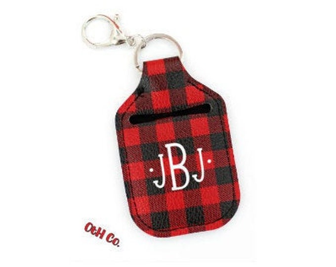Buffalo Plaid Hand Sanitizer Key Chain Holder/Monogram hand sanitizer holder/Personalized sanitizer holder/Gifts for Her/Valentine gift idea