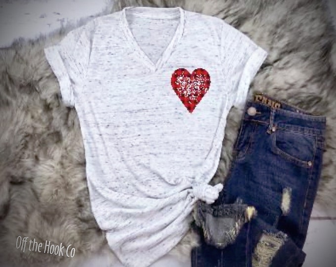 Buffalo plaid heart vneck tee/Distressed plaid heart shirt/Valentines Day tshirt/Women's vneck heart shirt/Love tshirt/Gifts for her/Xoxo