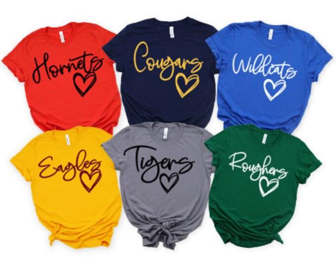 Favorite Team shirt/Team mascot tshirt/School team tee/hoodie/Love Favorite team tee/School logo shirt/Custom team shirt/School mascot shirt