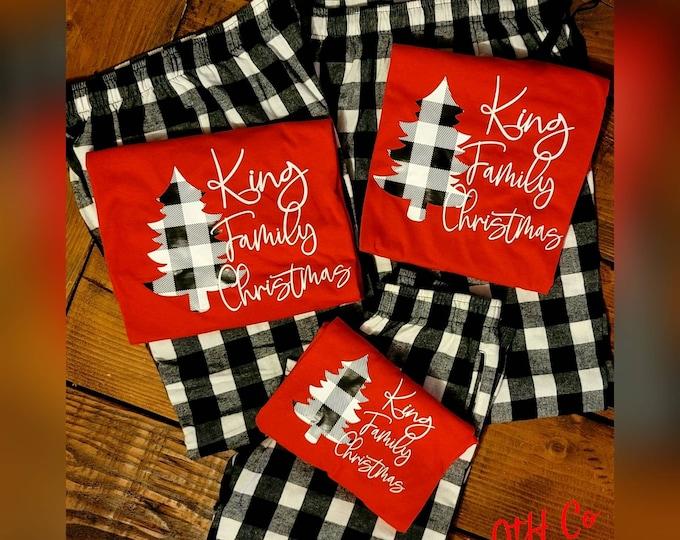 Holiday custom family tshirts, Christmas family tshirt, Matching family shirts, Buffalo plaid tees for the family, Family Christmas tshirts