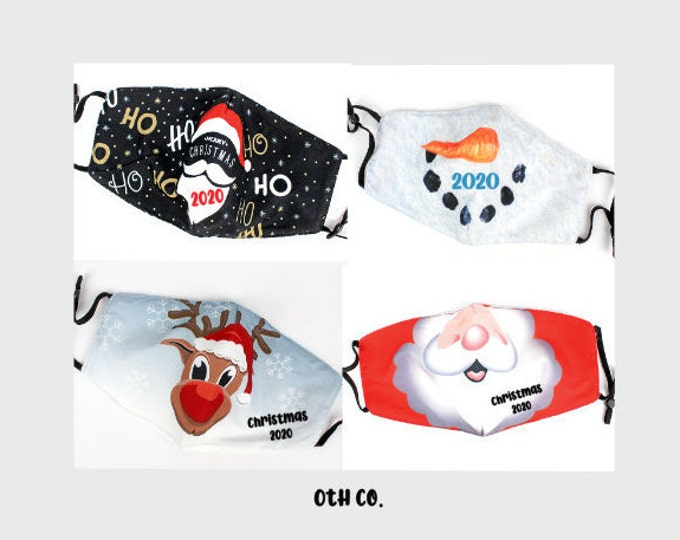 Christmas time Face Mask/Holiday Party Face Coverings/Customized Face Mask for Holidays/Santa Claus Mask/Frosty face mask/Rudolph face mask