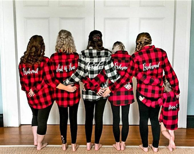 Bridal Party Flannels/Buffalo Plaid/Bridesmaid gift/Bridal party gift/ Bridesmaid flannel/Wedding day Flannels/Bachelorette Party/future Mrs