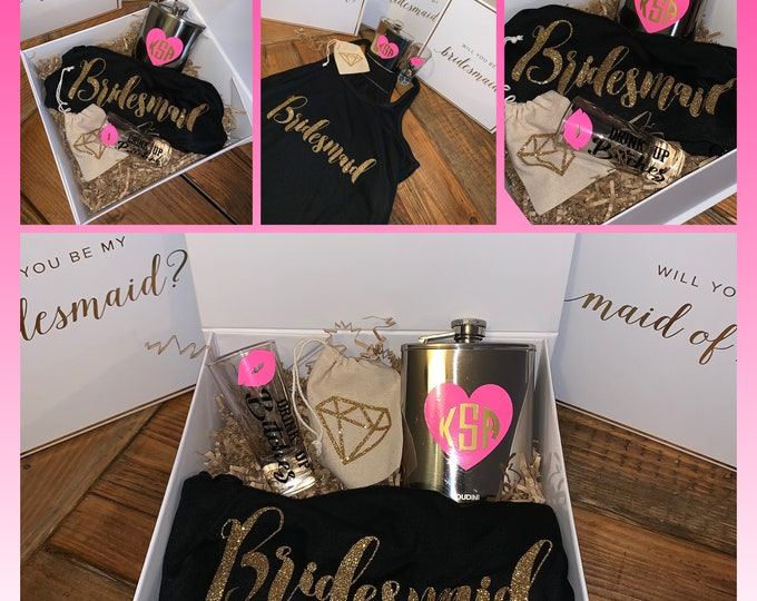 Proposal Gift Boxes- Bridesmaid Proposal Box - Will You Be My Bridesmaid- Maid of Honor-Proposal Box - Wedding Party Gifts -Bridal gift idea