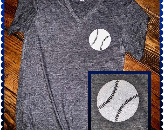 Sparkly Baseball Ladies v-neck, Baseball love shirt, Glitter Baseball shirt, Vneck baseball tee, baseball fun shirt, baseball, baseball gift