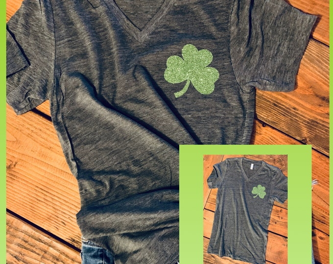 St Patrick Day Vneck/Clover Glitter tee/St Paddys Day/Shamrock tshirt/womens vneck st pattys day/Lucky vneck shirt/chartreuse vneck tee