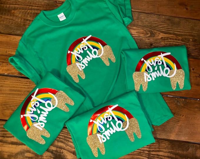 St Patricks Day Shirt/Dental Staff Shirt/Tooth tee/Dental humor/ St Patricks/Leprechaun shirt /Irish tee/Dental Office tees/Just Smile shirt