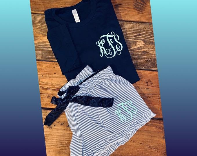 Monogram pjs/bridal party gifts/sleep wear/seersucker pj/gift ideas for her/bridesmaid proposal sets/personalized pajamas/bridal lingerie