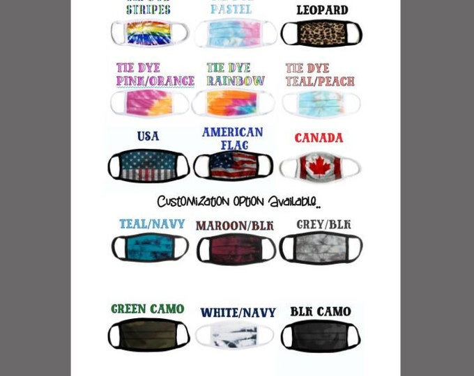 USA made mask,tie dye mask,camo mask,mineral wash mask,washable mask,Canada flag mask,USA flag mask,face coverings,back to school mask