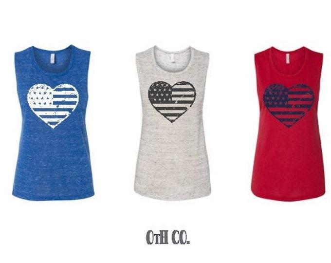 USA tank top/Distressed Heart flag shirt/ladies sleeveless USA shirt/Distressed 4th July tee/Independence Day Tank/USA distressed flag tank