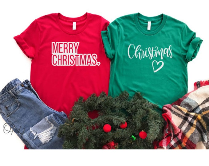 Merry Christmas tshirt/Christmas Love tee/Christmas gift ideas/Green Christmas tee/Red Christmas tee/Holiday tshirt/Christmas time shirt