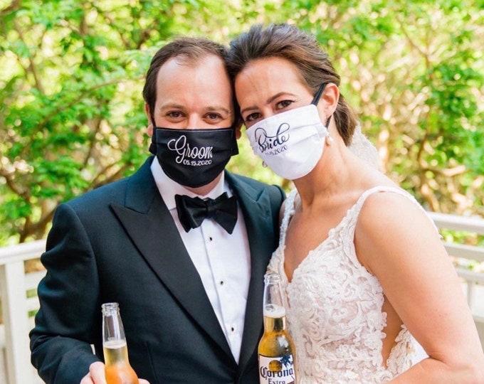 Mr and Mrs face mask/Wedding face mask/wedding party mask/wedding guest mask/washable bride & groom mask/couples mask/custom wedding mask