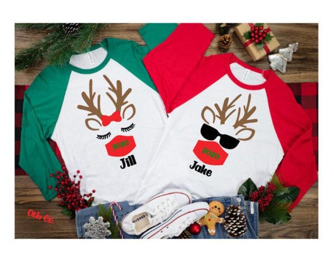 Rudolph the Red Nose Reindeer Quarantine 2021/Family Christmas matching quarantine shirt/Matching Holiday Shirt/Family Reindeer Shirt w/mask