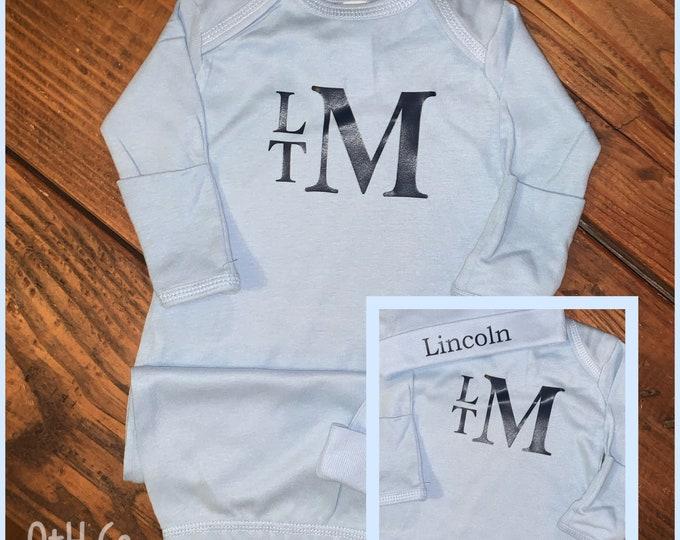 Newborn gown/Baby layette gift set/newborn monogram layette and hat/new baby gown/newborn boy gown/newborn girl gown/Baby gown/Baby shower
