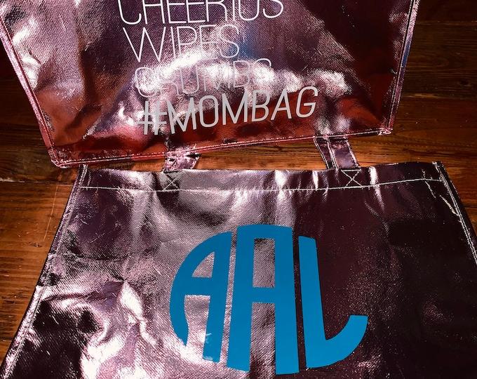 Metallic tote bags/custom totes/Mom life bag/Monogram tote bag/metallic large bag/Personalized tote bag/Mom bag/gifts for her/Initial bag