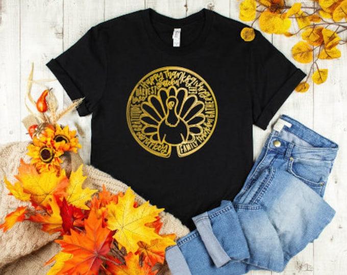 Family, Thankful, Gather tee/Thanksgiving Turkey tshirt/Happy Thanksgiving tshirt/Gold Turkey tee/Turkey Day tshirt/unisex holiday shirt