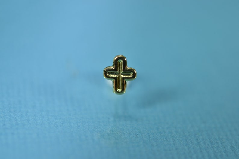 14K Genuine Yellow Gold Cross Nose Ring