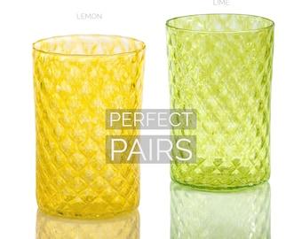 Retro Modern Decor Lemon /& Lime Mindala Glass Set Hand Blown Glass Drinkware Cocktail Glass Glassware