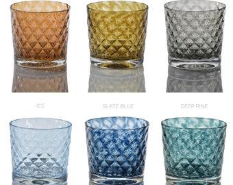 Coastal Mindala Glass Set- Colorful Scotch Glasses Set, Hand-Blown Scotch Glasses Set, Juice Glasses Set, Hand-Blown Whiskey Glasses Set