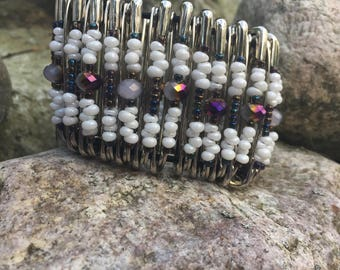 White and Purple Safety Pin Bracelet