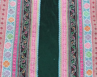 """Vintage Hmong Fabric - Vintage Cross-Stitch Fabric - Hand Embroidered - Hmong Hill Tribe - Tribal Fabric - Asian Fabric  24"""" x 13"""""""