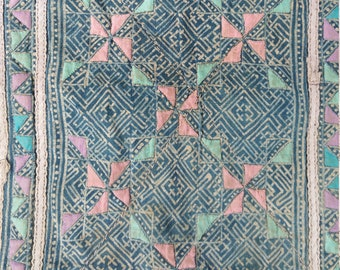 """Vintage Hmong Fabric - Vintage Cross-Stitch Fabric - Hand Embroidered - Hmong Hill Tribe - Tribal Fabric - Asian Fabric  21"""" x 14"""""""