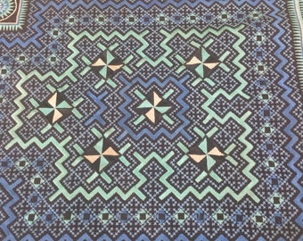 """Vintage Hmong Fabric - Vintage Cross-Stitch Fabric - Hand Embroidered - Hmong Hill Tribe - Tribal Fabric - Asian Fabric  24""""x 16"""""""