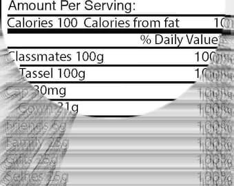 Graduation Nutrition Facts Label