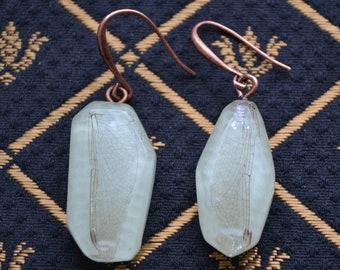Glowing dragonfly wing earrings - Glowing Earrings - Statement Jewelry - Turquoise Earrings - Glow In The Dark Earrings - Statement Earrings