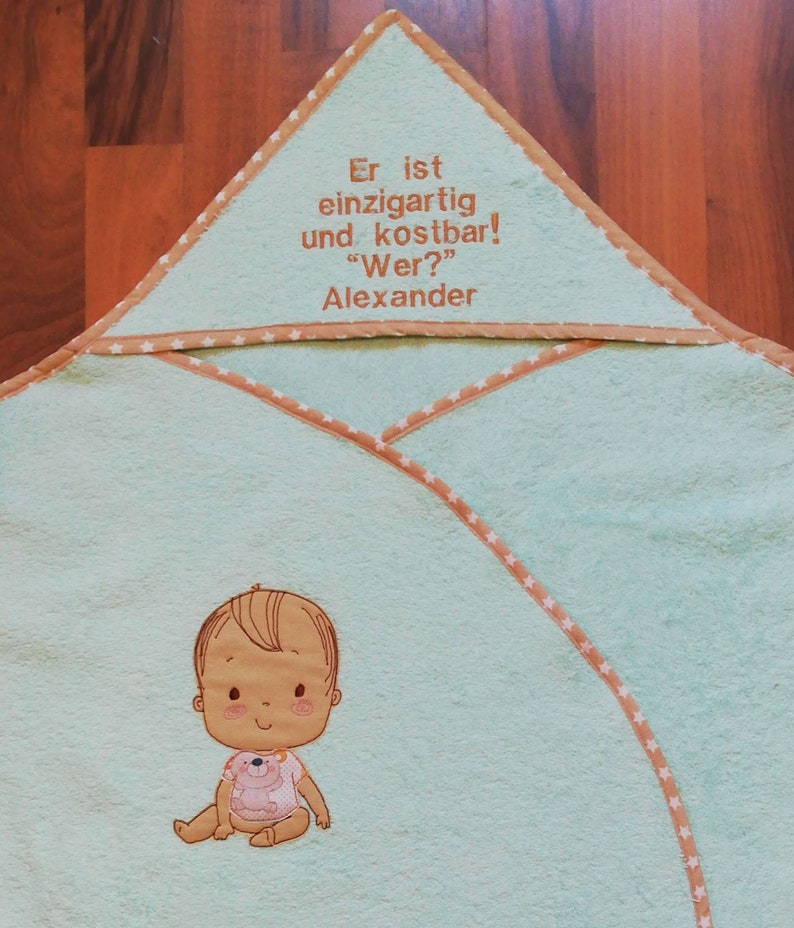 size at photos 0-3 months Customizable Customizable baby wrap-hooded towel made of eco cotton terrycloth text /& application incl