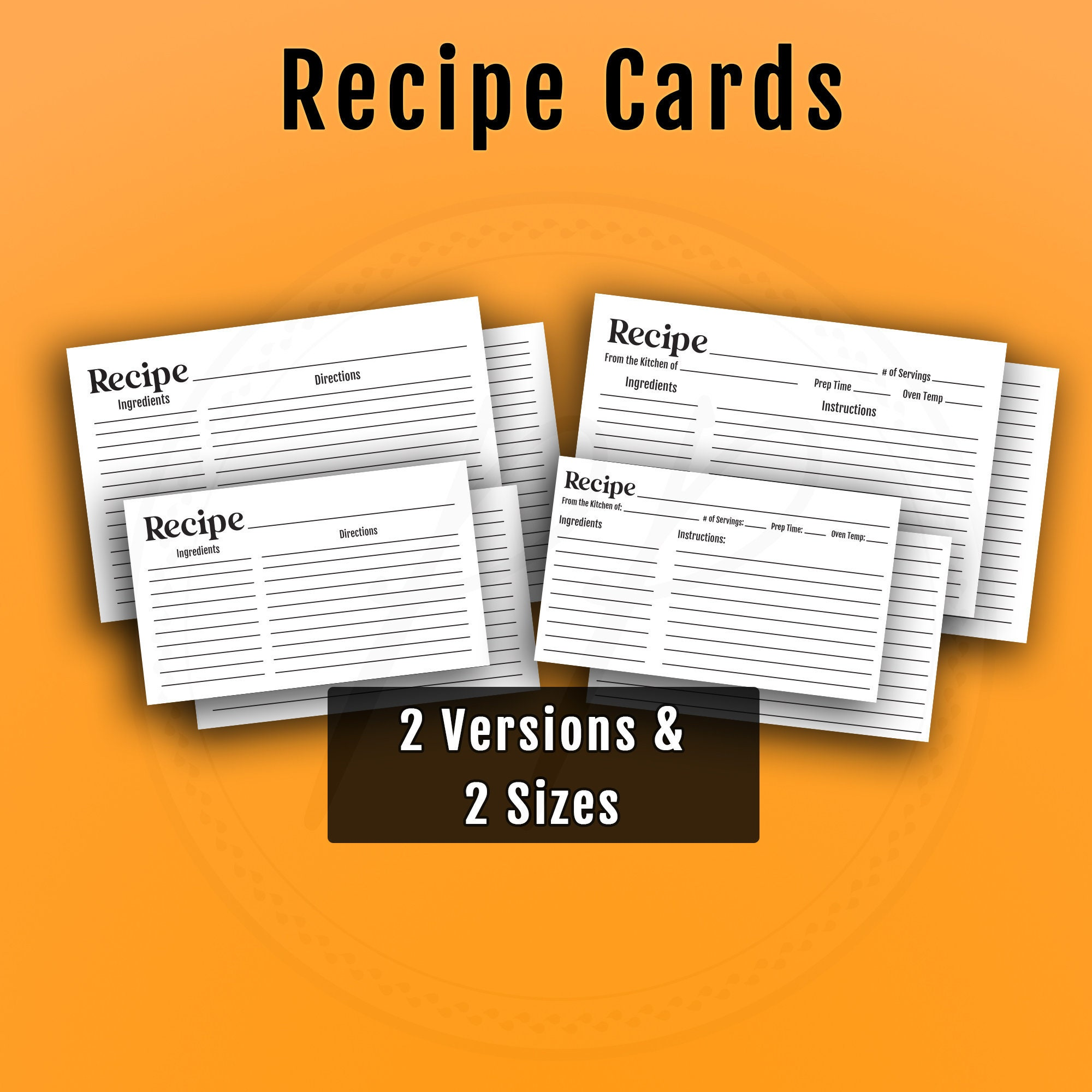 Recipe Cards Set 225x25 Recipe Cards 25x25 Index Card Recipe Journal Meal Plan  Recipe Template Recipe Binder Food Chart Recipe Card Print Food Intended For 3 X 5 Index Card Template