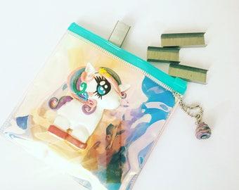 Unicorn holographic wallet with unicorn poop charm