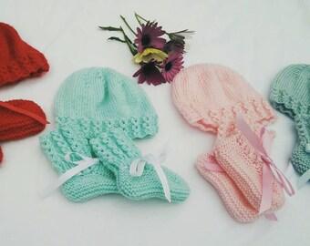 Hand-knit Newborn Baby Bootie & Hat Sets | Sirdar 4ply Wool