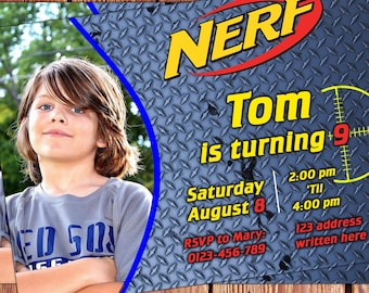 Nerf Birthday invitations - Customized - Personalised birthday invites - Nerf party - Front and Back With photo