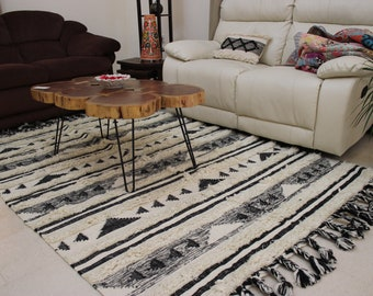 Black And White Rug Etsy
