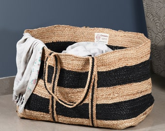 Extra Large Stripes Laundry Basket, Jute laundry bag, Large laundry hamper, Storage bin,  Living Room Storage Basket, Nursery Toy Bin Basket