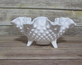 Vintage Footed Hobnail Milk Glass Candy Dish White Bowl Scalloped