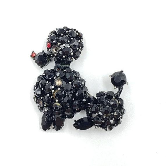 Vintage Deco Dog Brooch Black Rhinestone Pin Poodl