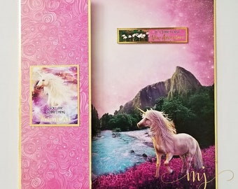 Unicorn Utopia card; Handmade card; Greeting card; 3D card