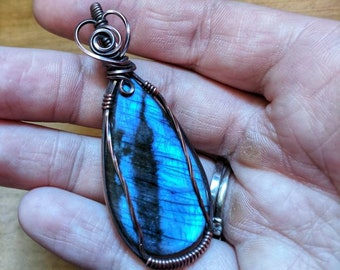 Blue Labradorite pendant, wire wrapped jewelry, wire wrapped pendant, labradorite pendant, Labradorite jewelry, gift for mom, gemstones