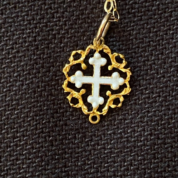 Antique Gold and Enamel Cross Pendant