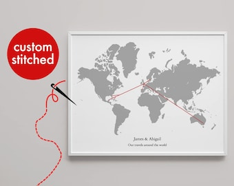Travel map etsy uk personalised world map print hand stitched holiday travels married engaged civil partnership choose location custom print gumiabroncs Images