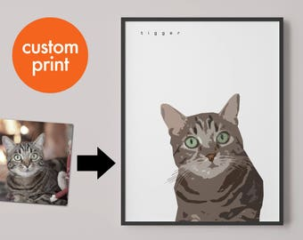 Personalised pet portrait print // pet illustration // cats kittens // custom print gift // for cat lovers