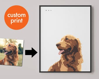 Personalised pet portrait print // pet illustration // dogs puppy and puppies // custom print gift // for pet and dog lovers